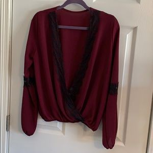 Tops - Deep V maroon top with lace detail